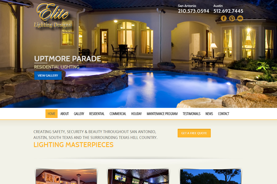 Outdoor lighting web design san antonio for Elite design
